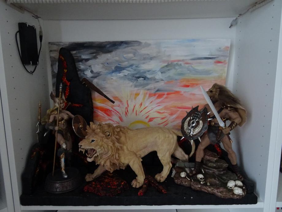 le combat des titans avec le lion comme arbitre mon diorama est terminé.