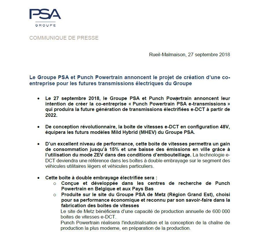 Le Groupe Psa Et Punch Powertrain Annoncent Le Projet De
