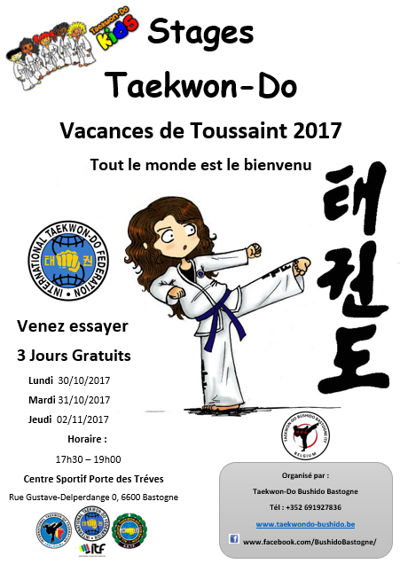 Stages taekwon do vacances toussaint bastogne 2017 bushido bastogne - Vacances toussaint 2017 rennes ...