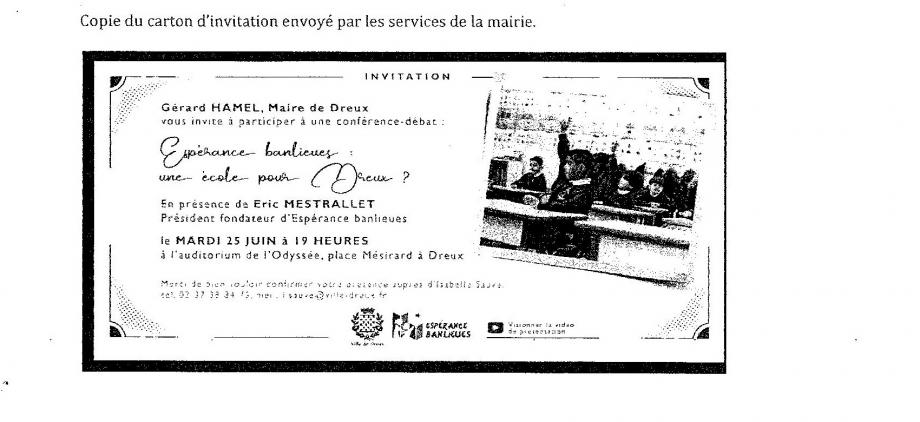 L'invitation envoyée à des Drouais susceptibles de soutenir l'opération. Le logo de la Ville de Dreux apposé à celui de la fondation