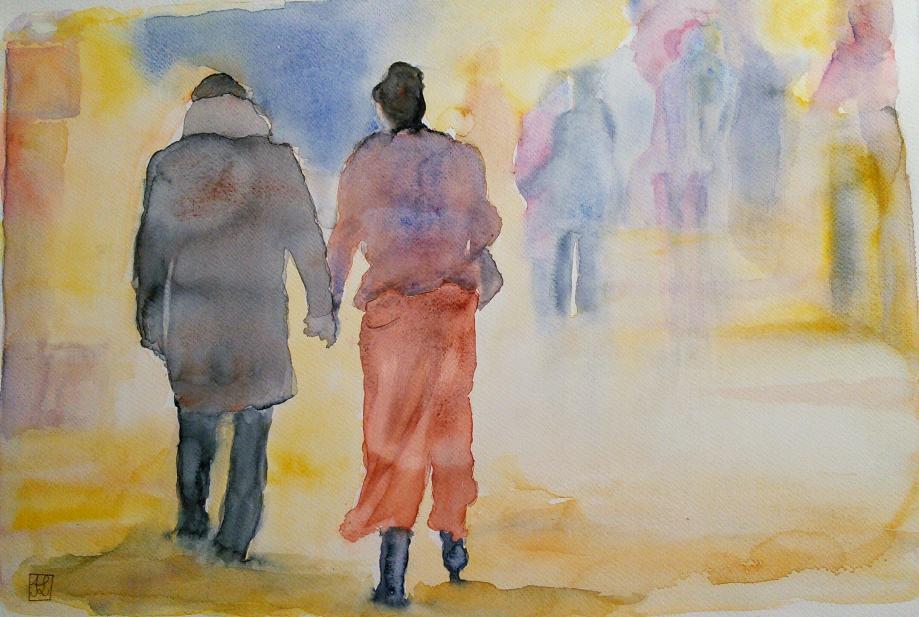 Éblouis, ils marchent côte à côte vers l'horizon bleuté de l'année nouvelle... Bonne année 2019 !