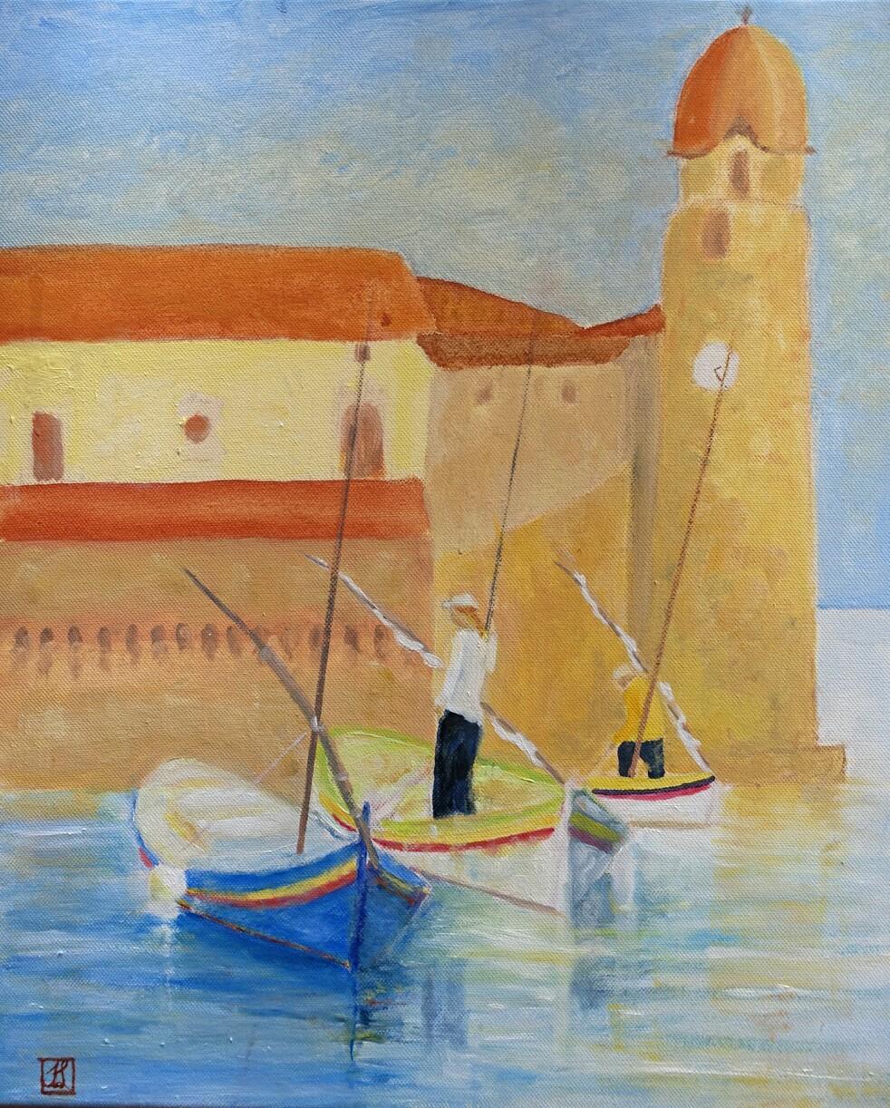 Barques à Collioure. Huile sur toile. 2019 Salon des Artistes de Trélivan