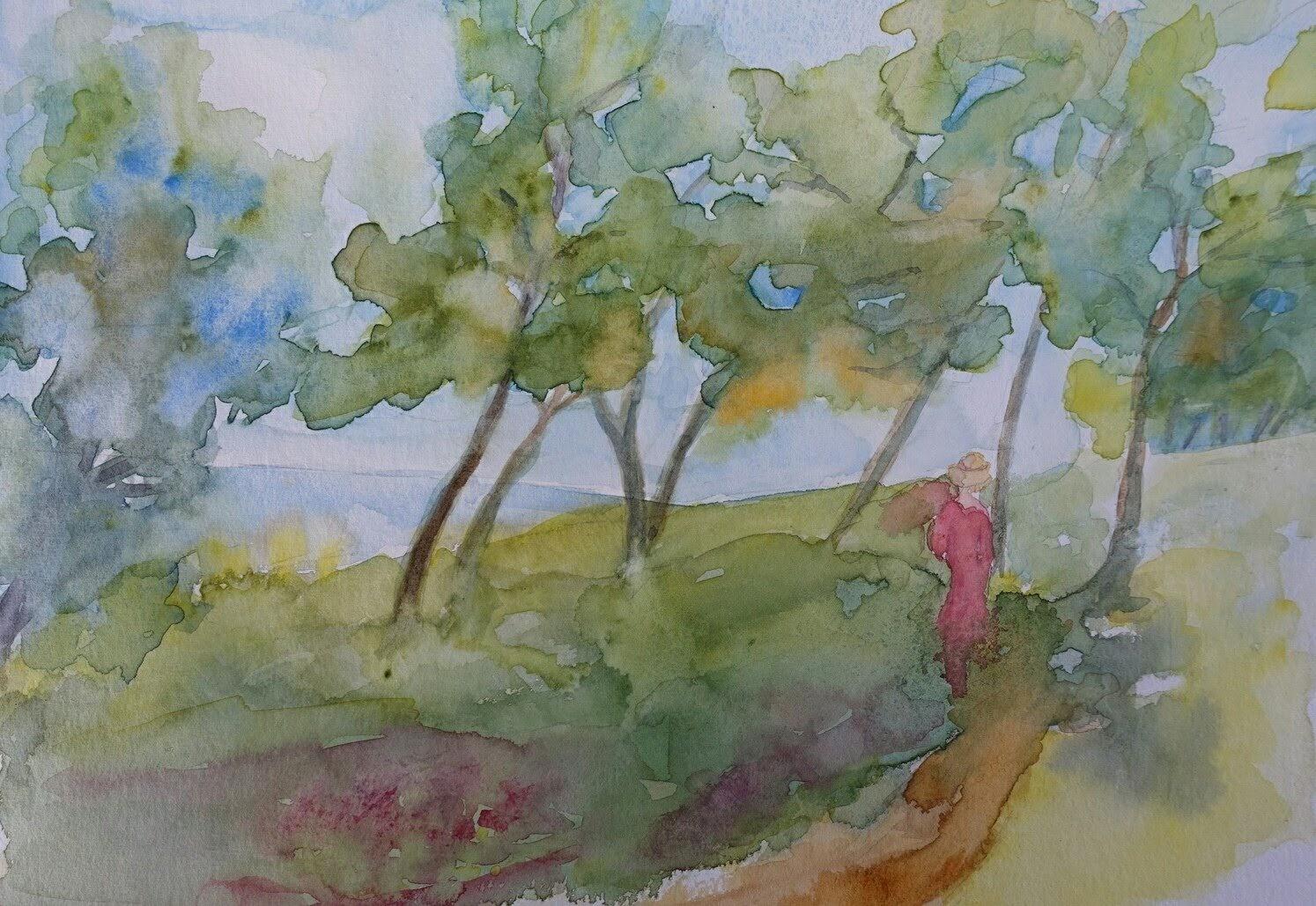 Promenade sous les pins. Aquarelle 2020