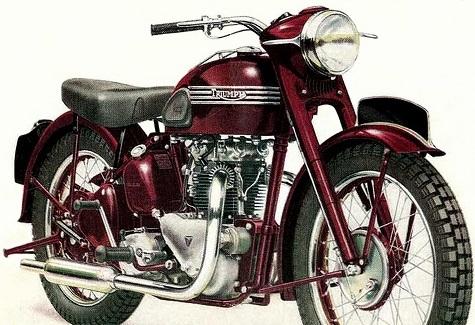 TRIUMPH 500 Speed Twin 1952 Cette moto dont l'origine remonte à 1937  a véritablement marqué l'histoire du vertical twin en Angleterre.