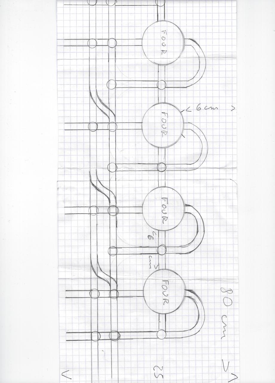 plan aérien des fours avec les voies et plaques tournantes (petits cercles) une multitude de petites plaques tournantes permettaient la circulation des berlines à la sortie des fours (à savoir qu'elles étaient tractionnées par les mineurs)