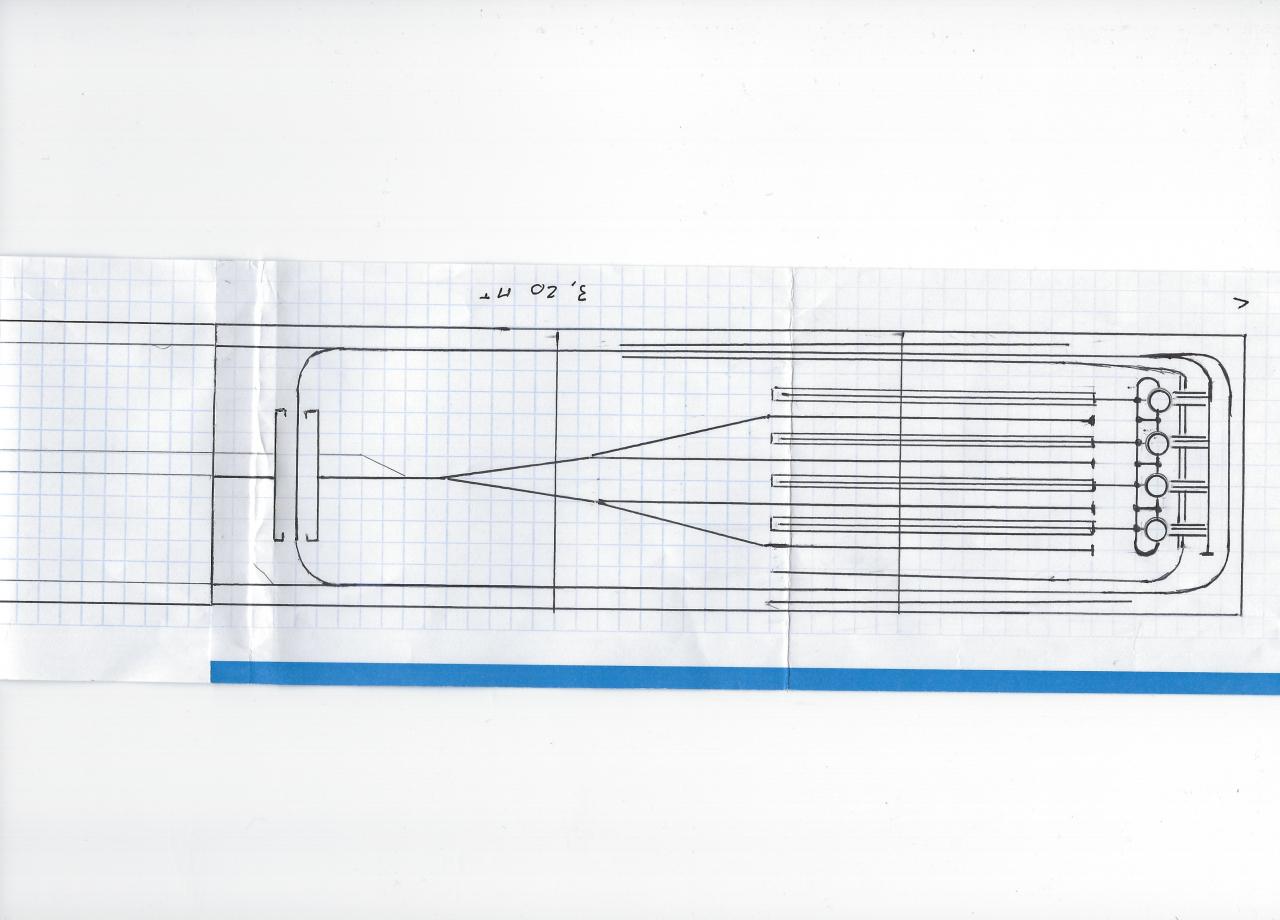 Ebauche d'un plan d'ensemble du site avec les passerelles du niveau 3.