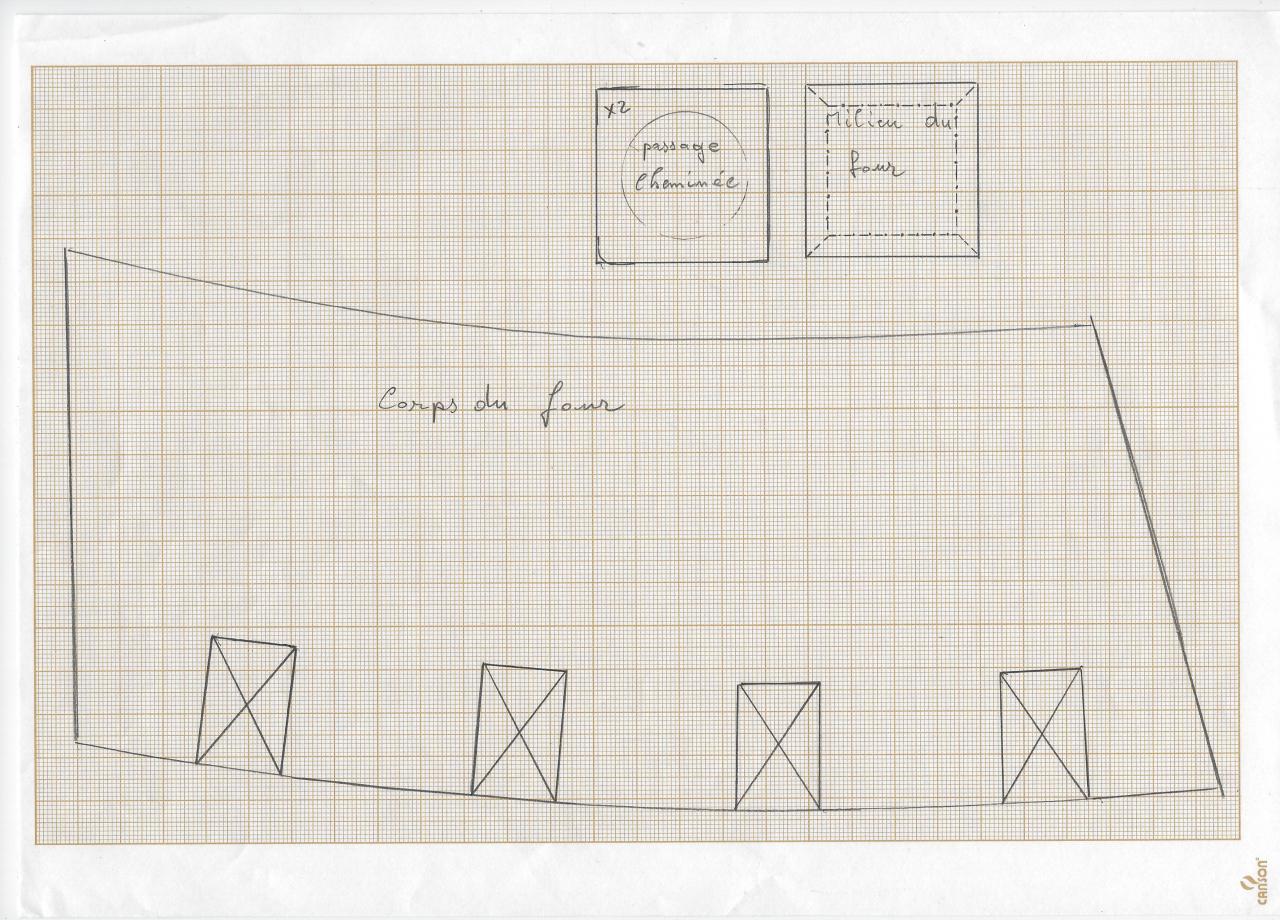 Plan 1: éclaté du four, plus particulièrement l'ossature en pierre et brique pour la base.