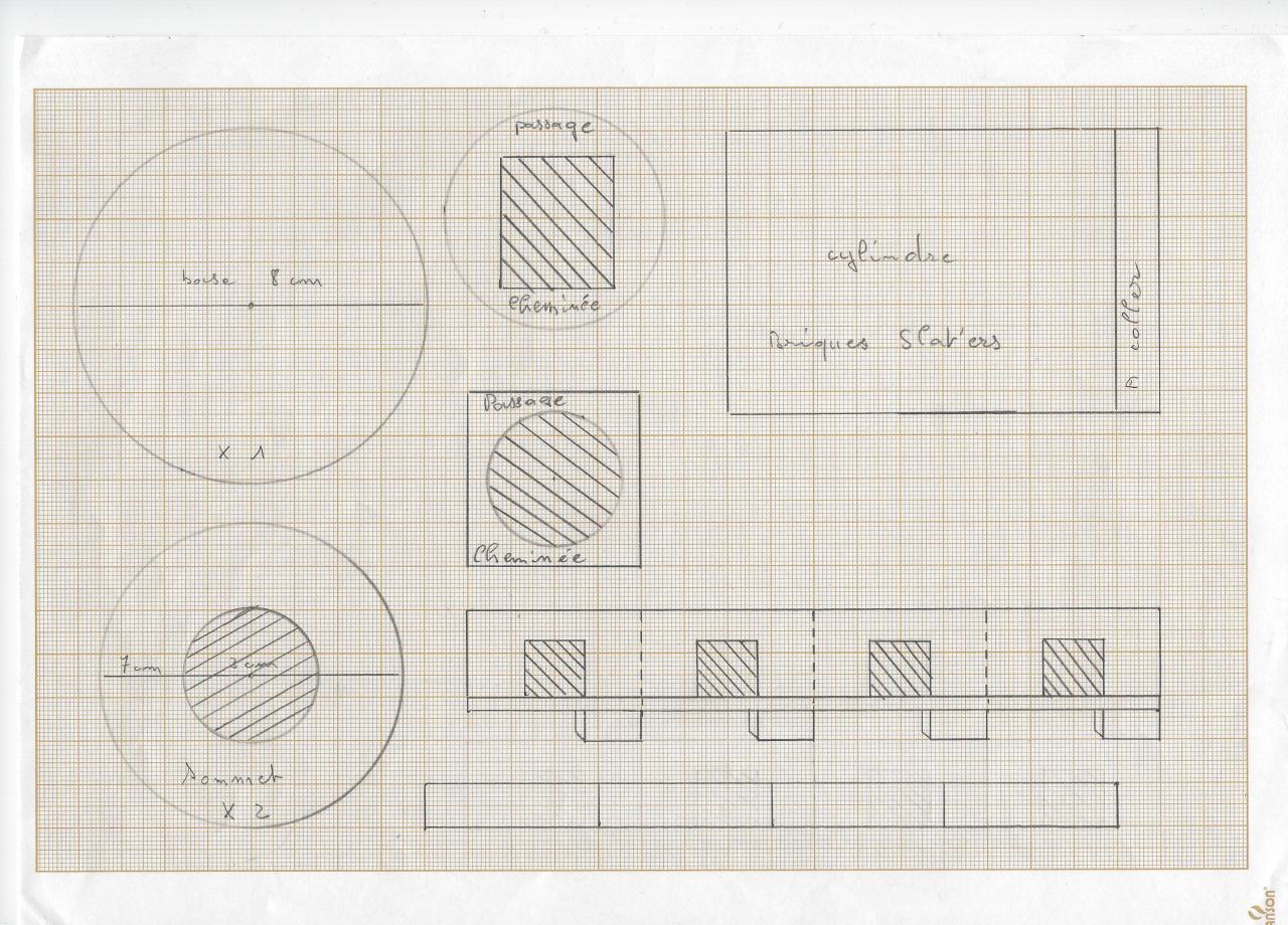 Plan du foyer et cheminée.