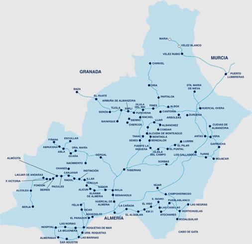Carte des services régionaux de bus espagnols