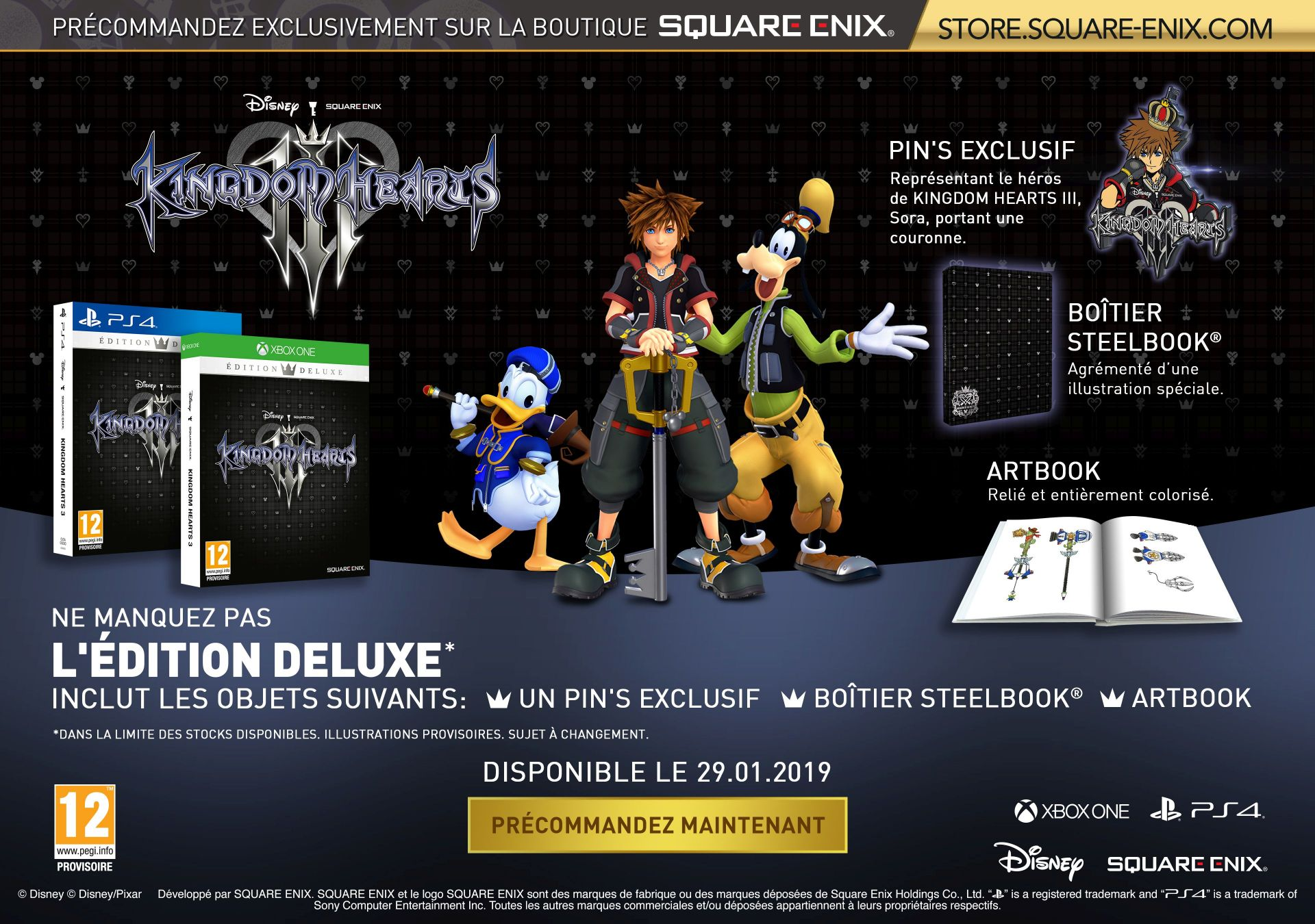 Bundle KINGDOM HEARTS III DELUXE EDITION (Avec Steelbook) + BRING ARTS FIGURES