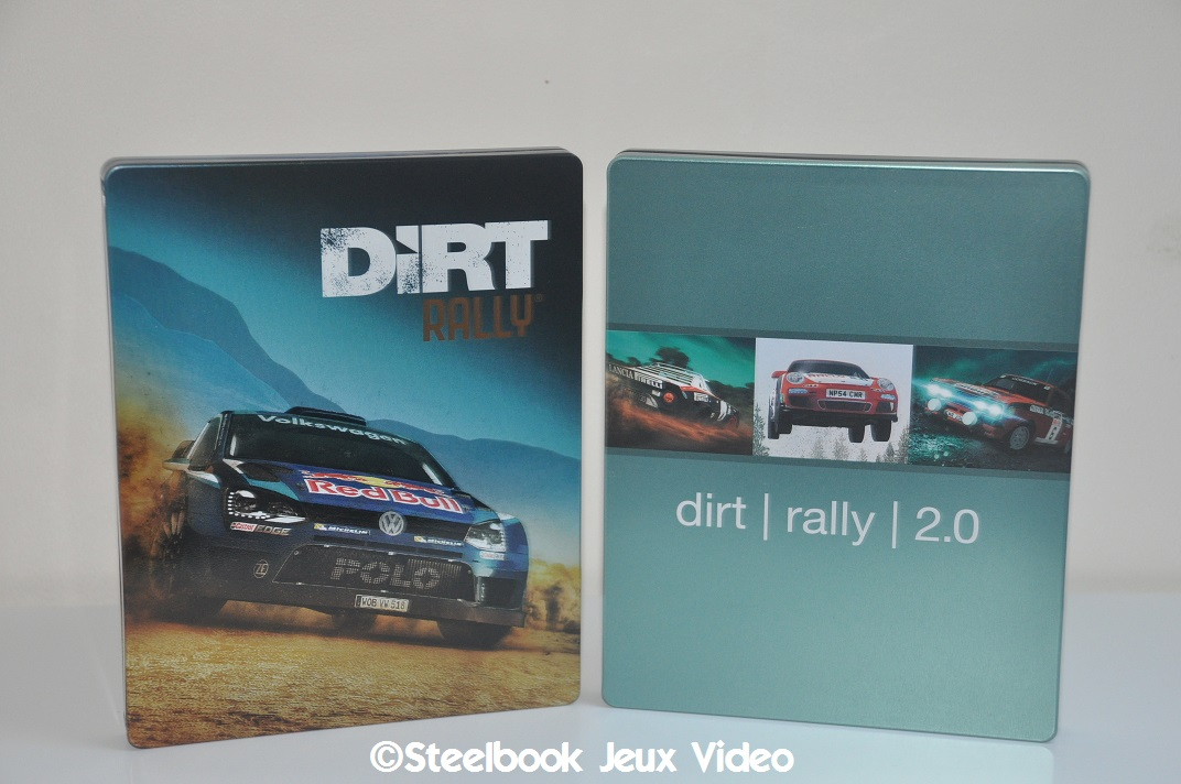 A gauche le Steelbook du 1er Dirt Rally