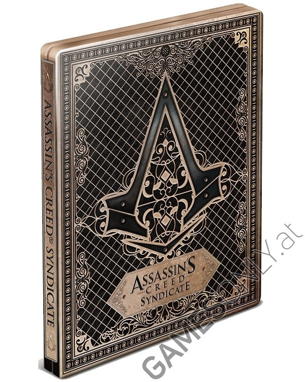 Steelbook d'Assassin's Creed Syndicate - 14,98 € - Lien Direct :  https://www.gamesonly.at/Assassins_Creed_Syndicate_Steelbook_Merchandise_9919.html
