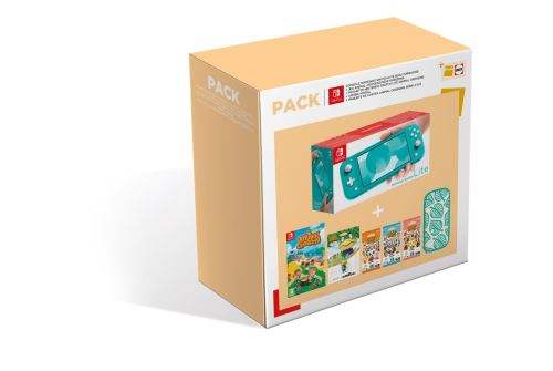 Pack-Fnac-Console-Nintendo-Switch-Lite-Turquoise-Animal-Croing-New-Horizons-Pochette-Nintendo-Switch-Animal-Croing-Amiibo-Amiral-Paquet-cartes-Animal-Croing-Serie-2-3-4