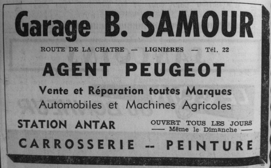 De la rue Maréchal Joffre, le garage est transféré route de La Châtre... (Publicité - 1971)