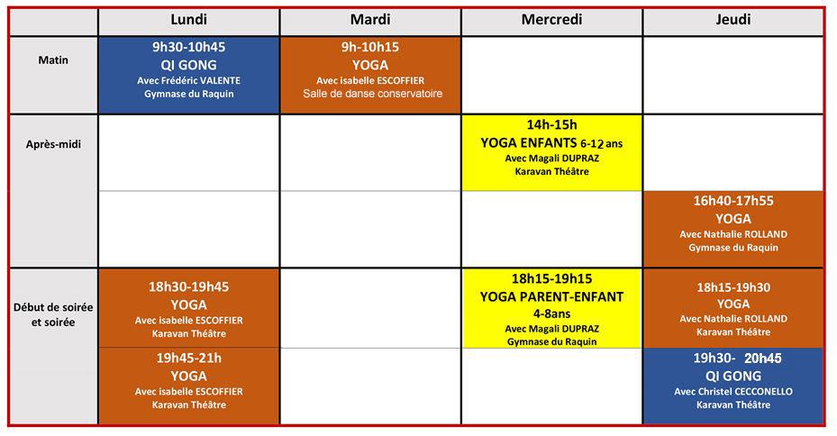 planning cours V3 danse