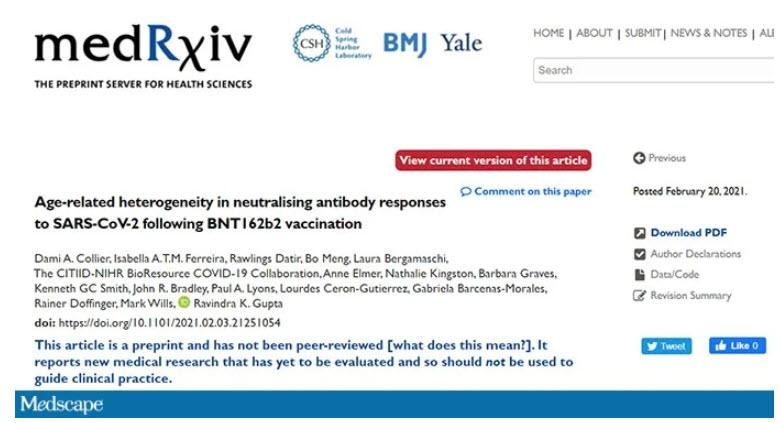 Age-related heterogeneity in Ab response