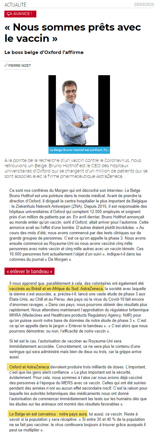 Astra -Zeneca - NEWS 8 septembre