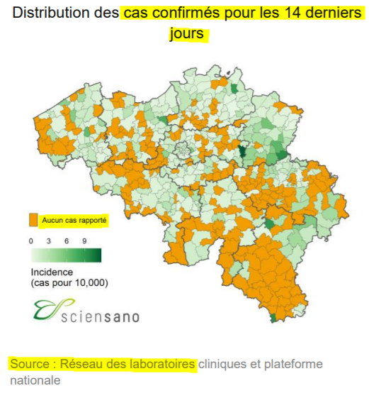 Cas en Belgique les 14 derniers jours - 11 juin