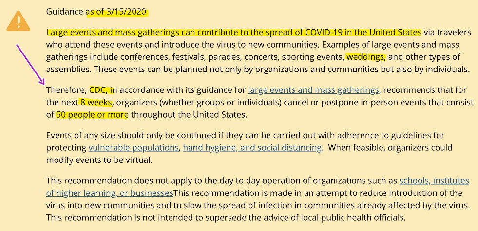 CDC New Guidelines - 8 weeks and 50 people - 16 March, 2020