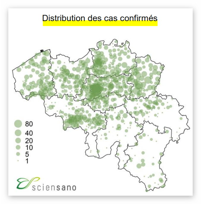 Distribution des cas confirmés - 25 mars