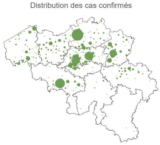 Distribution des cas confirmés en Belgique - 13 mars, 2020