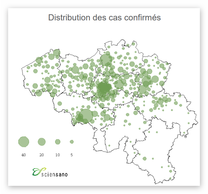 Distribution des Cas (Sciensano)