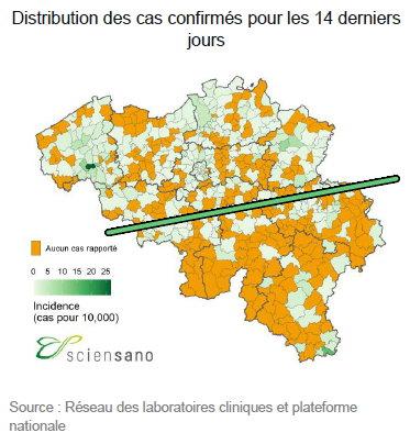 Distributions des cas confirmés en Belgique - 18 juillet
