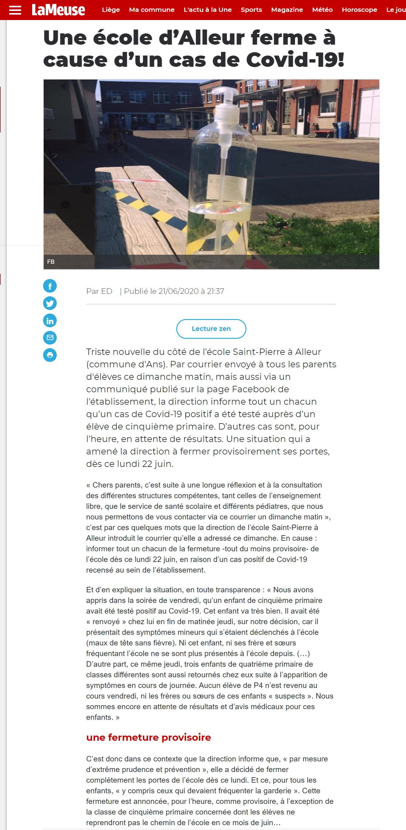 Fermeture à Alleur - La Meuse - 22 juin