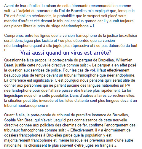 Justice francophone un peu laxiste
