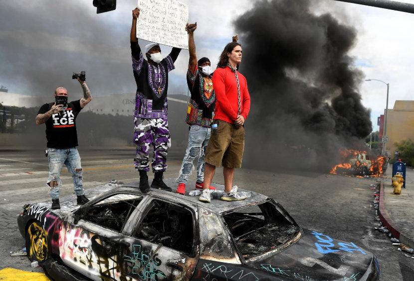 LAPD cars burned