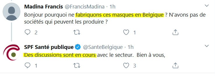 Les Masques en Belgique - des discussions - 16 March