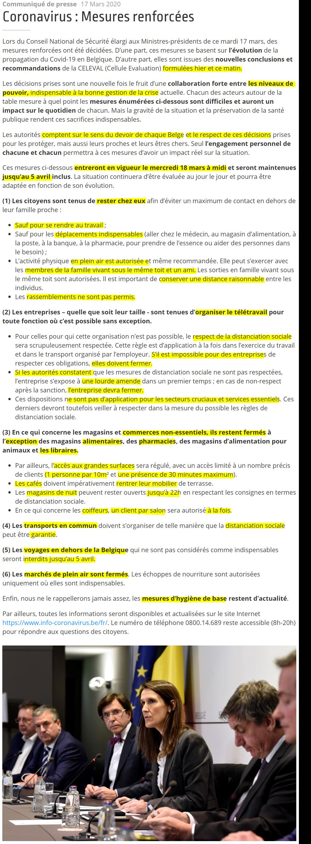 Mesures renforcées en Belgique - 18 Mars