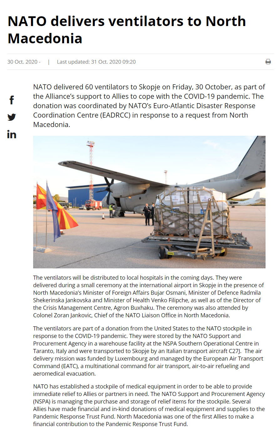 NATO delivers to Macedonia on 20 October - 3 nov