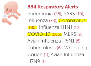 Respiratory Alerts this past wk on HealthMaps