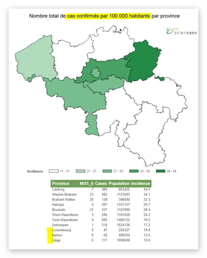 Sciensano - incidence par province - 21 mars 2020