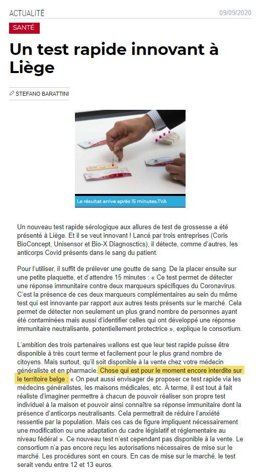 Test rapide pour ainticorps - interdit en Belgique - 9 septembre