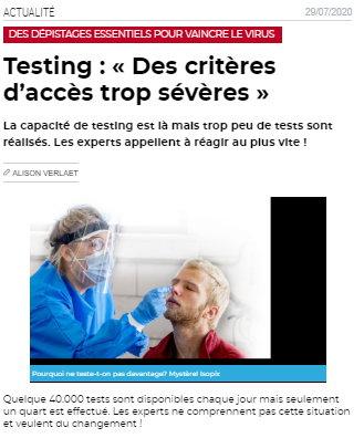 Testing critères trop sévère
