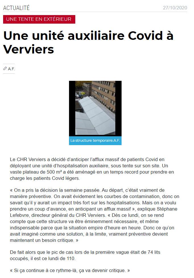 Unité auxiliare à Verviers - 27 oct
