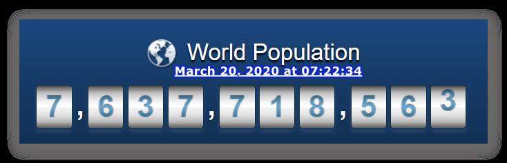 World Population - 20 March, 2020