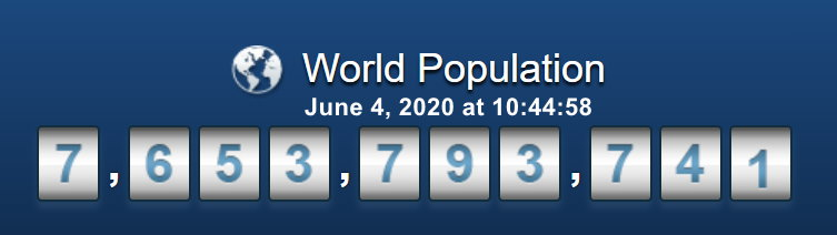 World Population - 4 June, 2020 at 10h44m58s
