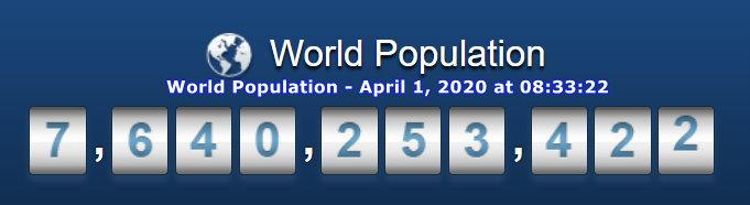 World Population April 1, 2020 at 08h22m33s