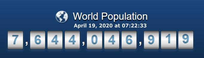World Population - April 19, 2020 at 07h22m33s