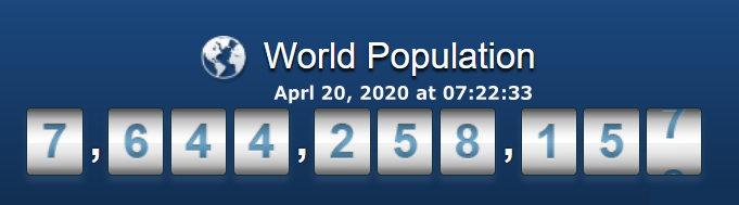 World Population April 20, 2020 at 07h22m33s