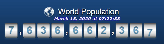 World Population - March 15, 2020 at 07h22m33s