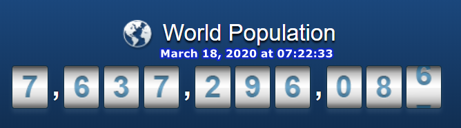 World Population March 18, 2020 at 07h22m33s
