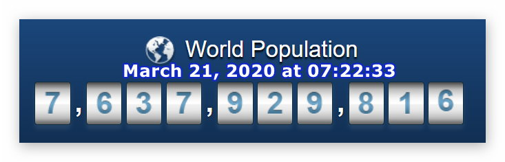 World Population - March 21, 2020 at 07h22m33s