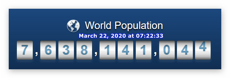 World Population - March 22, 2020 at 07h22m33s
