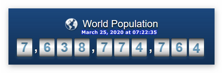 World Population - March 25, 2020 at 07h22m35s