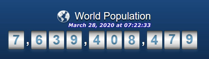World Population - March 28, 2020 at 7h22m33s
