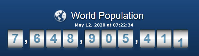 World population - May 12, 2020 at 07h22m34s